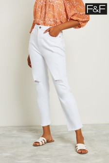F&F White Ripped Girlfriend Jean