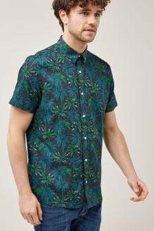Short Sleeve Palm Tree Print Shirt
