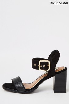 River Island Black Two Part Block Heel Sandals