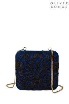 Oliver Bonas Blue Geniee Floral Straw Clutch Bag