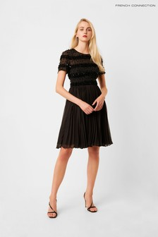 French Connection Black Brooke Sparkle Embellished Pleated Dress
