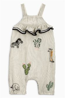 Embroidered Stripe Dungarees (0mths-2yrs)