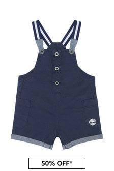 Timberland Baby Navy Cotton Dungarees