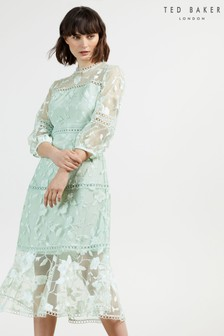 Ted Baker Tabii Tiered Midi Dress With Tape Detailing