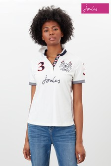 Joules Cream Beaufort Admiral Embroidered Polo Shirt