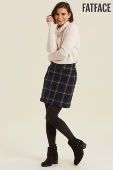 FatFace Blue Beth Check Skirt