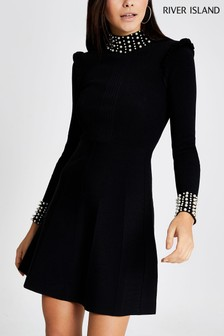 River Island Black Pearl Trim Mini Jumper Dress