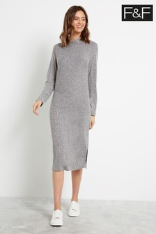 F&F Grey Brushed Bias Dress