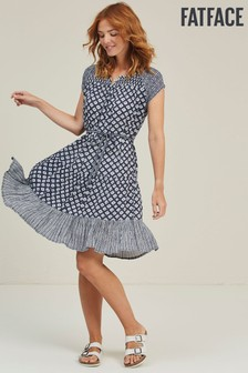 FatFace Indigo Claudi Tiered Vintage Geo Dress