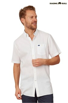 Raging Bull White Short Sleeve Signature Linen Blend Shirt