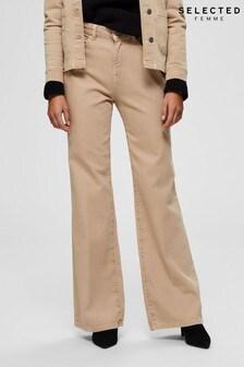 Selected Femme Beige Fella Boot Cut Jeans