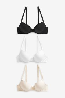 Carrie Light Pad Plunge Cotton Blend Bras Three Pack
