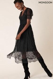 Monsoon Black Miranda Lace Tea Dress