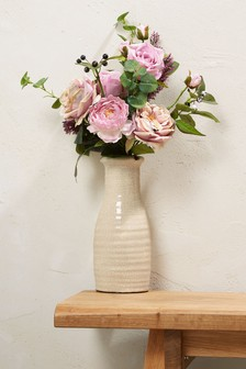 Artificial Roses In Ceramic Vase