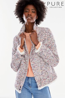 Pure Collection Pink Fringed Tweed Biker Jacket
