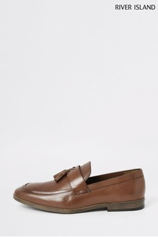 River Island Brown Embossed Vamp Loafers