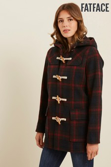FatFace Red Check Wool Duffle Coat