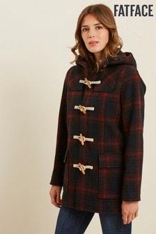 FatFace Red Check Wool Duffle Coat