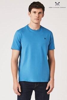 Crew Clothing Company Klassisches, Blaues T-Shirt mit Rundhalsausschnitt