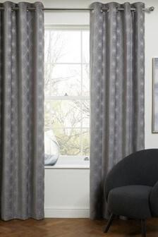 Grey Chenille Geo Star Eyelet Curtains