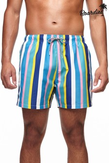 Boardies Mens Crush Stripe Mid Length Swim Shorts
