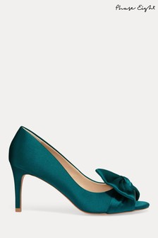 Phase Eight Green Meaghan Satin Bow Peep Toe Shoes
