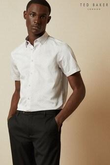 Ted Baker White Sortit Cotton Geo Print Shirt