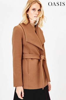 Oasis Natural Short Wrap Coat