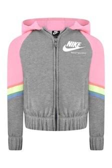 Girls Grey & Pink Hooded Heritage Zip Up Top