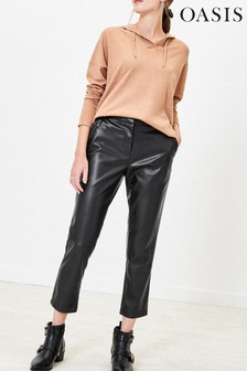 Oasis Black Faux Leather Trousers