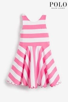 Ralph Lauren Pink Stripe Scallop Logo Dress