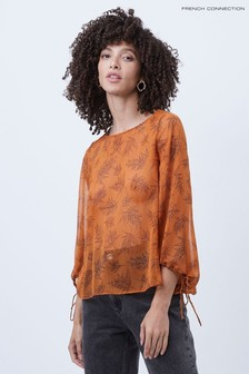 French Connection Orange Esma Crinkle Long Sleeve Top