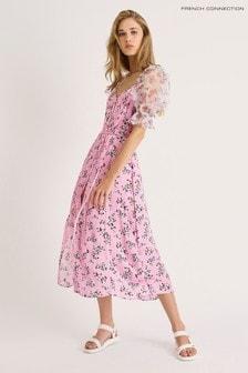 French Connection Purple Elitan River Daisy Drape Dress