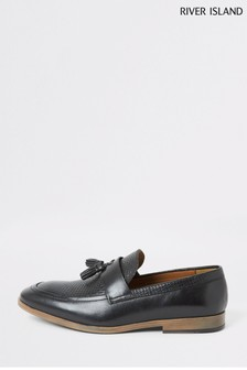 River Island Black Embossed Vamp Loafers