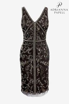 Adrianna Papell Black Bead Sheath Dress