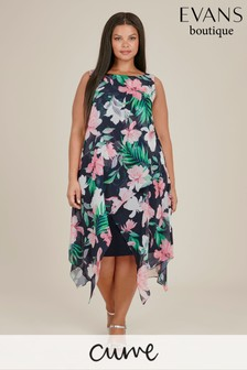 Evans Multi Dark Curve Tropical Print Overlay Dress