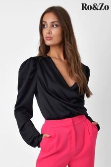 Ro&Zo Black Satin Puff Sleeve Bodysuit