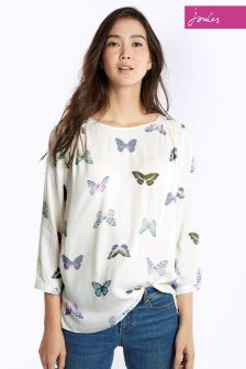 Joules Cream Butterfly Kayla Woven Top