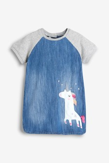 Unicorn Jersey Sleeve Denim Dress (3mths-7yrs)