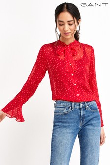 GANT French Dot Chiffon Bow Blouse