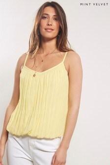 Mint Velvet Yellow Crinkle Blouson Cami