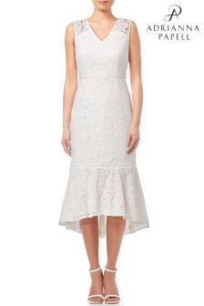 Adrianna Papell Ivory Cynthia Lace Flounce Sheath Dress