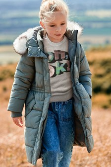 Faux Fur Trim Long Length Shower Resistant Padded Jacket (3-16yrs)