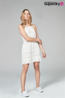 Superdry Lilah White Schiffli Dress