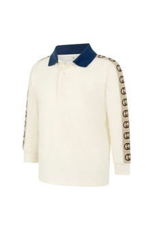Boys White Piquet Trim Polo Top
