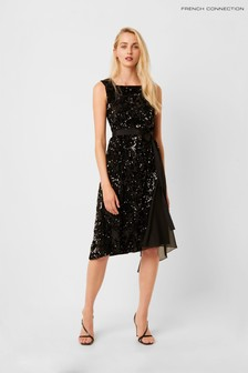 French Connection Black Eano Sequin Mix Dress