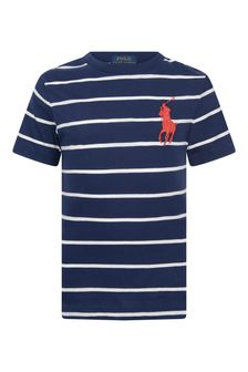 Boys Navy Striped Jersey T-Shirt