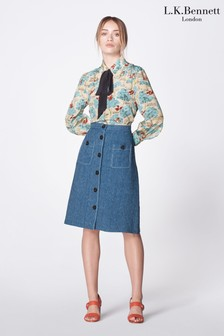 L.K.Bennett Blue Wilson Denim Button Front Skirt