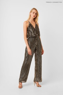 French Connection Black Celina Sequin Striped Strappy Jumpsuit