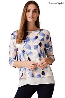 Phase Eight Blue Laina Leaf Print Top